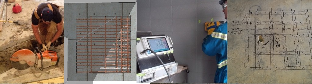 Concrete scanning with GPR prior to cutting or coring.