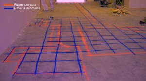 GPR technology to scan concrete floors that are easily displayed by marking out locations of rebar prior to saw cutting or coring