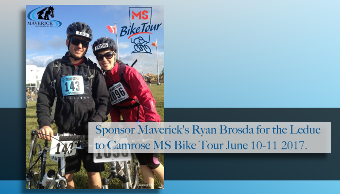 Sponsor Maverick's Ryan Brosda for the MS Bike Tour 2017.