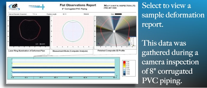 "Sample report of video inspection and measurement of deformations in 8"" PVC pipe."