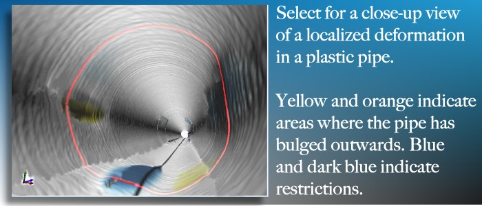 Maverick Inspection uses laser profiling to measure deformations in plastic pipe during a video inspection.