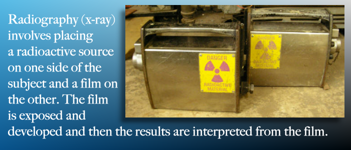 XRAY or Radiography involves exposing a film to a radioactive source.
