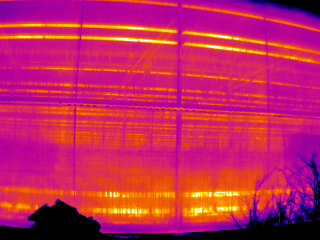This image shows the thermal transmissivity of greenhouse sheathing materials. This was part of a scan of commercial greenhouses performed in 2004 for the Alberta Research Council