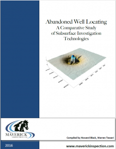 Abandoned well locating case study comparing ground penetrating radar (GPR), electromagnetic conductivity profiling, and magnetic gradiometry.