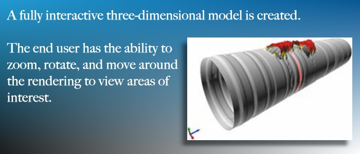 From the laser measurements, Maverick creates a 3-D model for the end user to zoom, rotate, and move around.