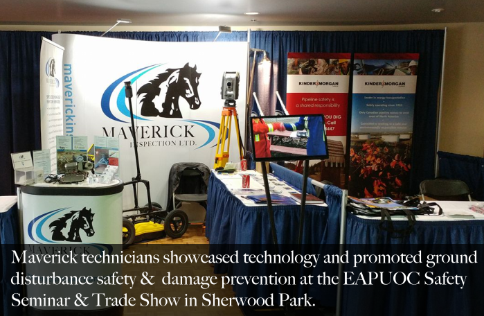 Maverick's utility locate booth at the EAPUOC Seminar in Sherwood Park 2017.