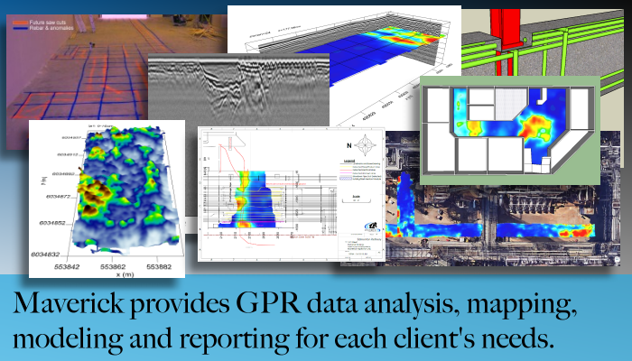 From Edmonton Alberta Maverick provides GPR data gathering and analysis.