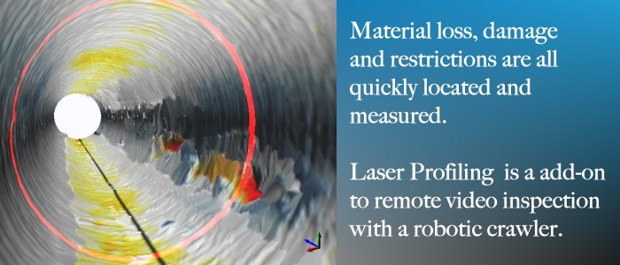 Laser profiling for material loss and damage in concrete pipe.