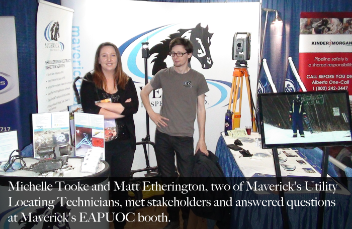 Matt and Michelle at Maverick's Utility Locating EAPUOC Safety Seminar Booth in Sherwood Park 2017.