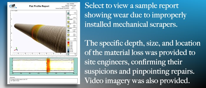 Video pipe profiling report by Maverick showing wall loss due to mechanical wear.