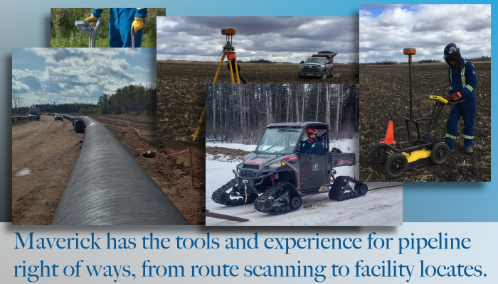 From Edmonton Alberta, Maverick provides utility locating including pipeline right of way, environmental borehole sweep, and abandoned well locates.