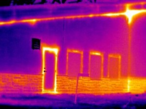 This image shows air exfiltration under positive pressure in a sitting area of a public building