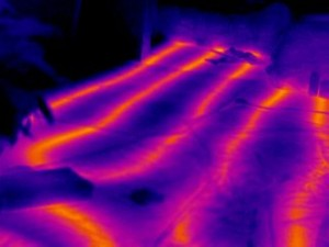 This image shows in-floor heating in a public pool reception area. The lines had to be located prior to drilling to anchor benches onto the concrete