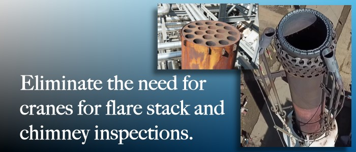 Maverick's industrial drone inspection services are ideal for flare stack and chimney internal imaging.